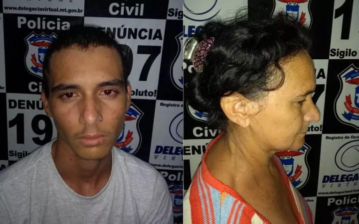 Filho e a mãe foram presos no domingo (2) durante velório da vítima em Marcelândia — Foto: Polícia Civil de Mato Grosso/Assessoria