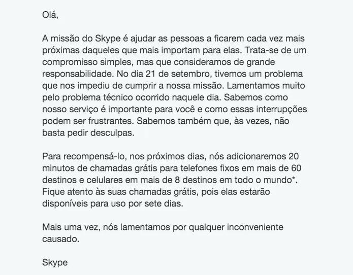 Microsoft enviou comunicado a usuários ofertando créditos do Skype de graça (Foto: Reprodução/Thassius Veloso) (Foto: Microsoft enviou comunicado a usuários ofertando créditos do Skype de graça (Foto: Reprodução/Thassius Veloso))