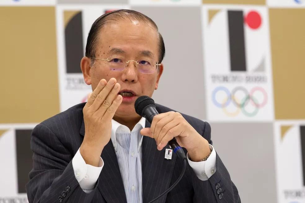 CEO dos Jogos de Tóquio, Toshiro Muto defende discurso que coloca as Olimpíadas como símbolo de solidariedade — Foto: Christopher Jue/Getty Images