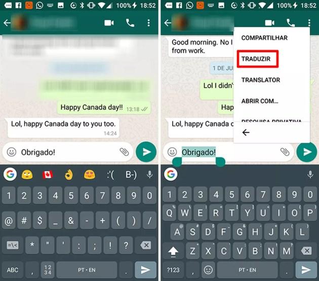 WhatsApp agora permite fazer tradução a partir do menu suspenso do Android (Foto: Reprodução/Elson de Souza)