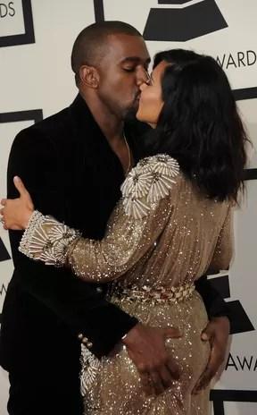 Kanye West e Kim Kardashian no Grammy 2015 (Foto: Valarie Macon/ AFP)