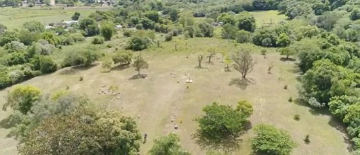 Jardim Paleobotânico, na cidade de Mata, está fechado para não receber visitantes em meio à pandemia — Foto: Reprodução/RBS TV