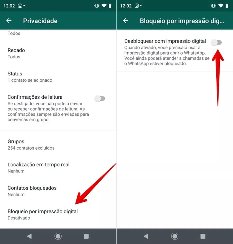Ativando desbloqueio por impressão digital do WhatsApp no Android  — Foto: Reprodução/Helito Beggiora