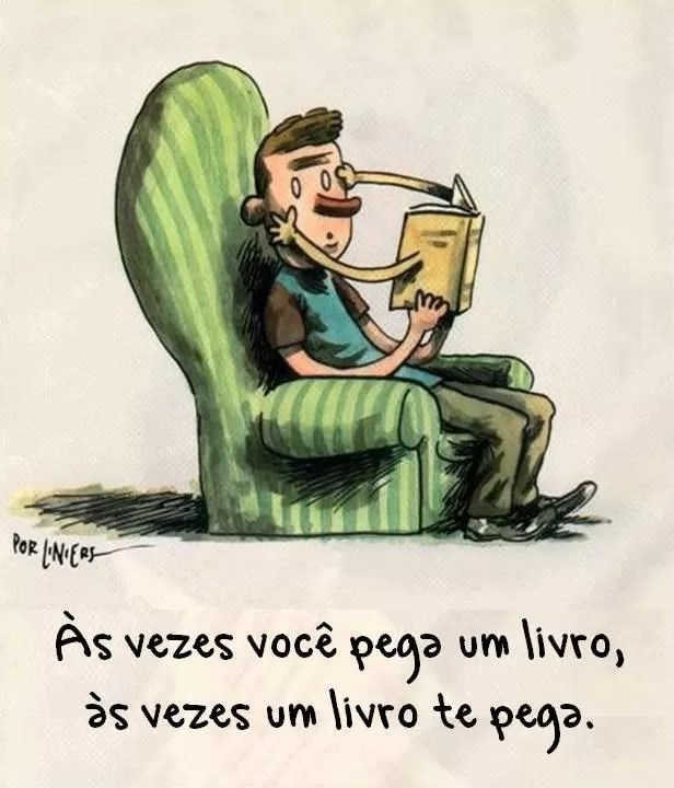 O leitor escolhe o livro ou o livro escolhe o leitor? - Tirinha produzida pelo artista argentino Liniers (Foto: Reprodução)