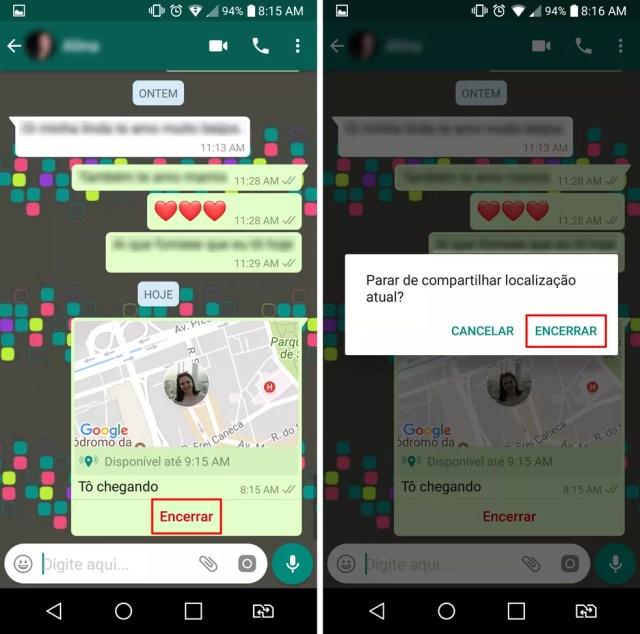 Opção para interromper o compartilhamento de localização no WhatsApp (Foto: Reprodução/Aline Batista)