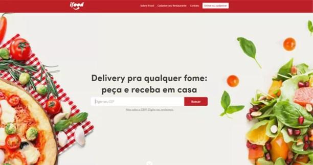 Página do iFood, empresa de pedido e entrega de comida pela internet líder na América Latina. (Foto: Reprodução)