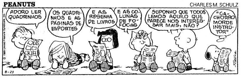Nem só de livros vive um leitor. Não importa o quê, o importante é ler! - Tirinha produzida pelo artista norte-americano Charles M. Schulz (Foto: Reprodução)