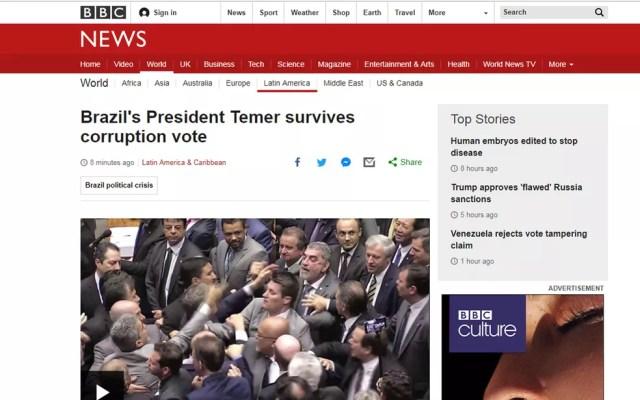 Votação a favor de Temer foi divulgada pela BBC (Foto: Reprodução/BBC)