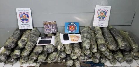 Total de 52 kg de maconha foram apreendidos em Gravatá — Foto: PM/Divulgação