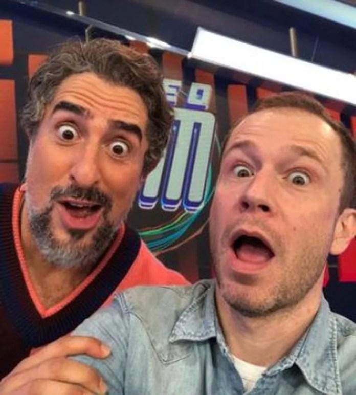 Marcos Mion com Tiago Leifert nos bastidores do'Caldeirão' — Foto: Reprodução / Instagram