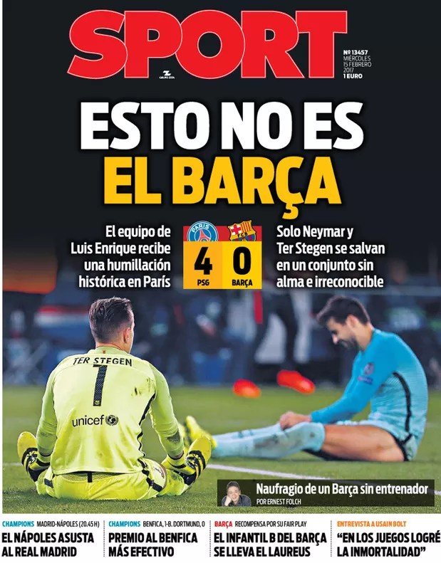 capa sport, paris saint-germain x barcelona