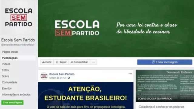 Página do Escola Sem Partido no Facebook tem mais de 190 mil curtidas — Foto: Reprodução/Facebook