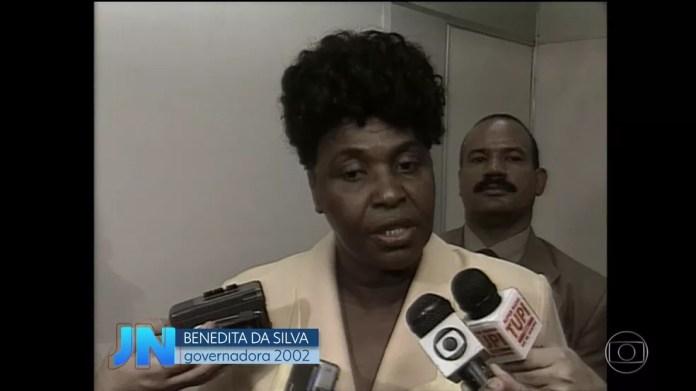 Benedita da Silva foi governadora em 2002 (Foto: Reprodução/Acervo/Globo)