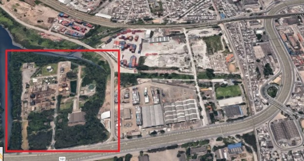 Terreno que o Flamengo estuda comprar na Avenida Brasil: clube realiza reuniões diárias para avançar no projeto (Foto: Reprodução)