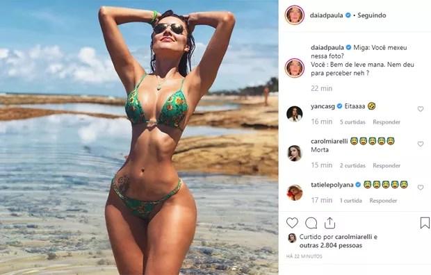 Daiane de Paula exagera propositalmente no Photoshop (Foto: Reprodução/Instagram)