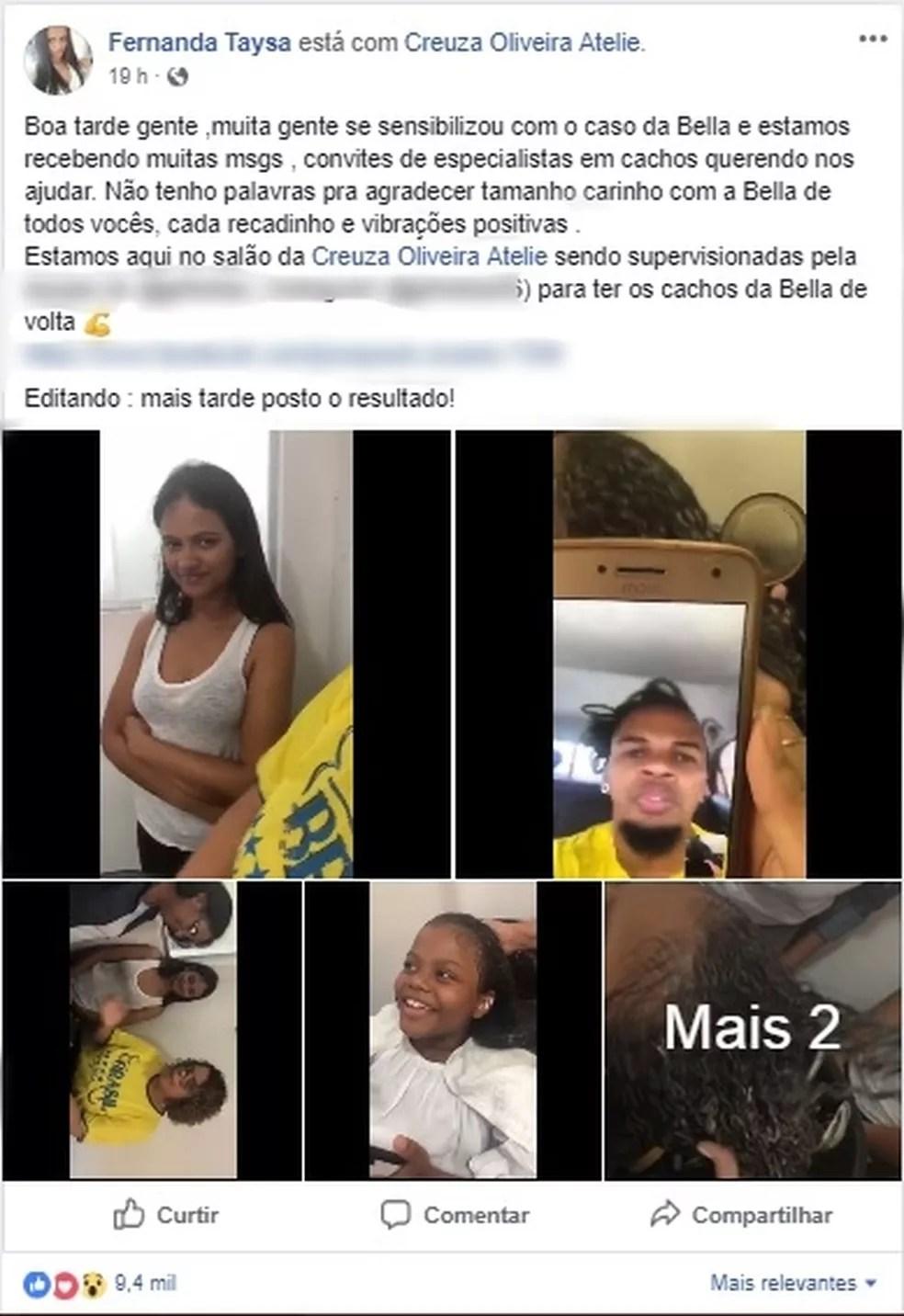 Nas redes sociais, mãe da criança postou fotos do primeiro dia de tratamento (Foto: Facebook/Reprodução)