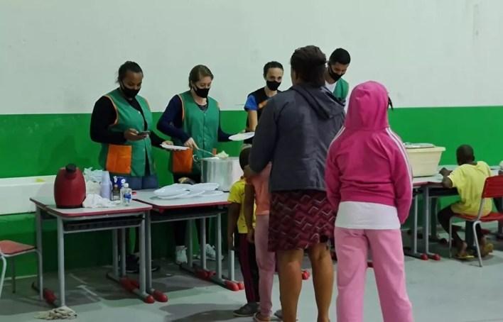 Abrigo foi montado para atender famílias afetadas pela chuva em Camboriú (SC) — Foto: Prefeitura Camboriú/Reprodução