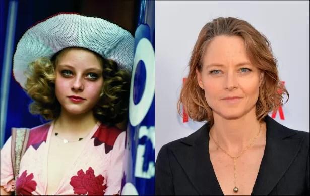 Com 14 anos, Jodie Foster foi indicada ao Oscar de Melhor Atriz Coadjuvante pelo trabalho em 'Taxi Driver' (1976). A estrela já está com 51 anos. (Foto: Reprodução e Getty Images)