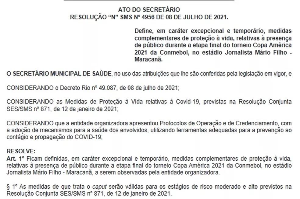 Liberação do Maracanã foi publicada no Diário Oficial do Município do Rio na manhã desta sexta-feira (9) — Foto: Reprodução/ Diário Oficial