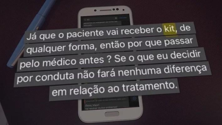 Troca de mensagens entre médicos do HFA, em Brasília — Foto: TV Globo/Reprodução