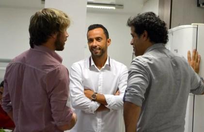 Lugano (à esquerda), com Nenê e Raí no CT do São Paulo (Foto: Érico Leonan / saopaulofc.net)