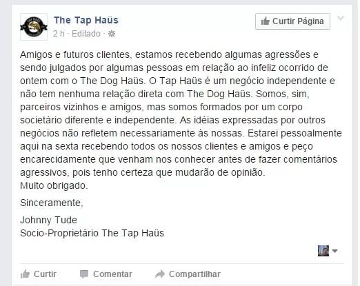 Mensagem do dono da The Tap Häus, que tem como sócio Shemuel Shoel (Foto: reprodução/Facebook)
