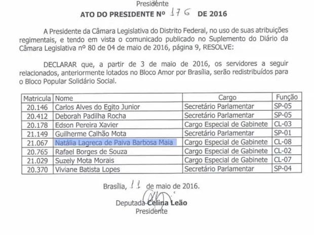 Ato da presidente da Câmara, Celina Leão (PPS), determina redistribuição de Natália Maia (Foto: Reprodução)