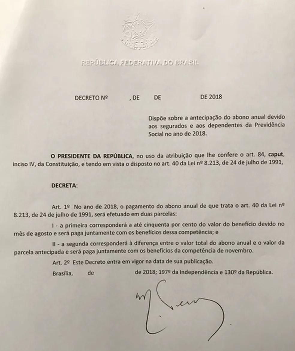 Decreto assinado pelo presidente Michel Temer (Foto: Reprodução)