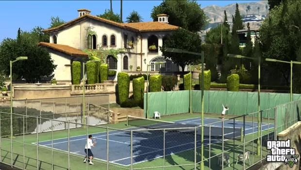 Os mais ricos da cidade jogam tênis em suas mansões em 'GTA V' (Foto: Divulgação)