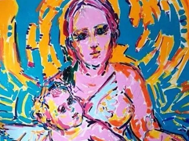 Pinturas refletem as duas metades do mundo, o sagrado e o profano (Foto: Divulgação)