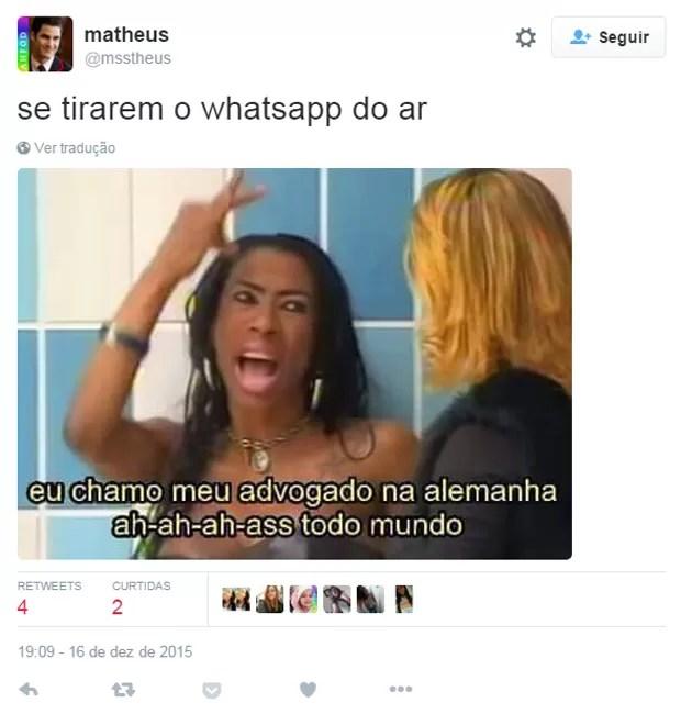 Inês Brasil chama seu advogado em meme do Twitter após proibição do WhatsApp no Brasil