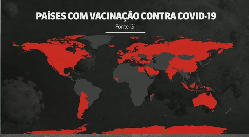 Mapa mostra países que começaram a vacinação contra Covid-19 — Foto: Arte/GloboNews