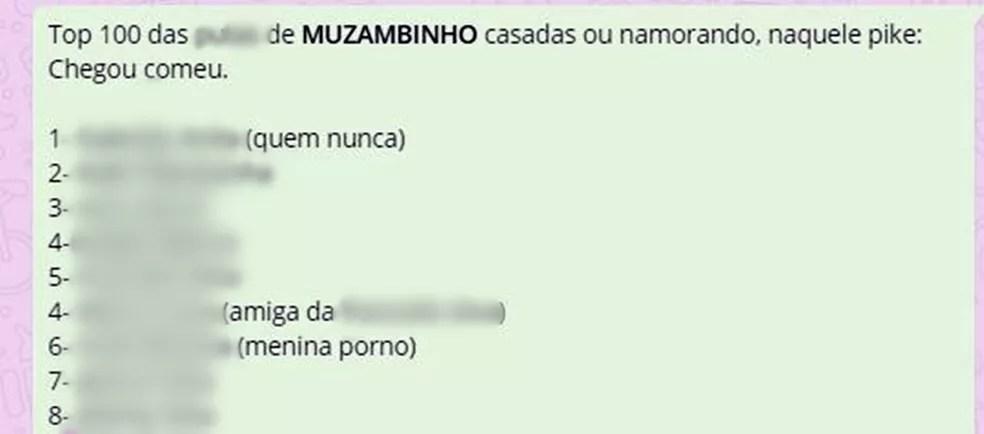 Lista viralizou e expôs mulheres moradoras de Muzambinho (Foto: Reprodução/WhatsApp)