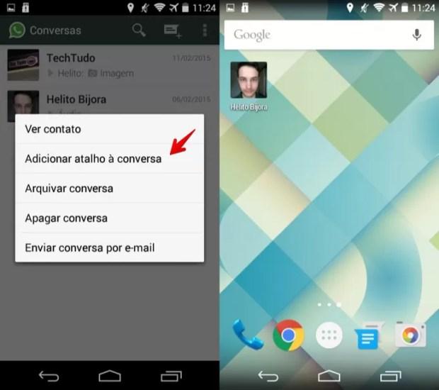 Adicionando atalho para a conversa na tela inicial do Android