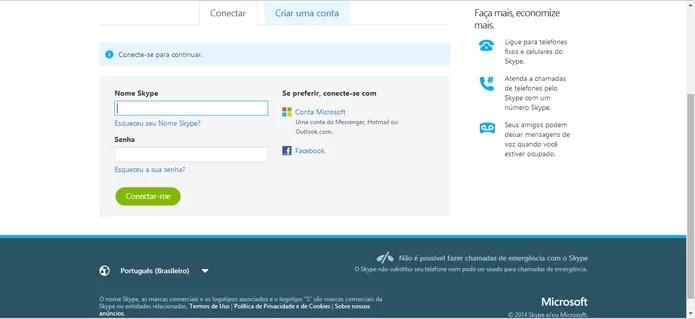 Faça login com sua conta no Skype para concluir sua participação na promoção e ganhar créditos (Foto: Reprodução/Elson de Souza)