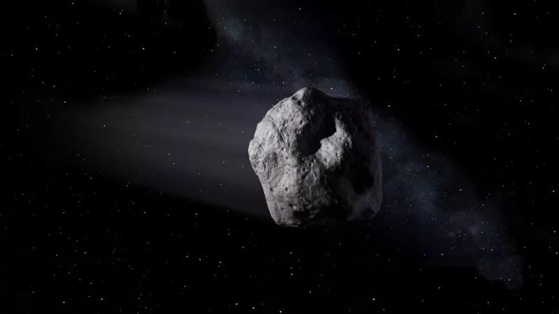 Ilustração mostra o asteroide 2020 SW viajando através do espaço. — Foto: Nasa/JPL-Caltech