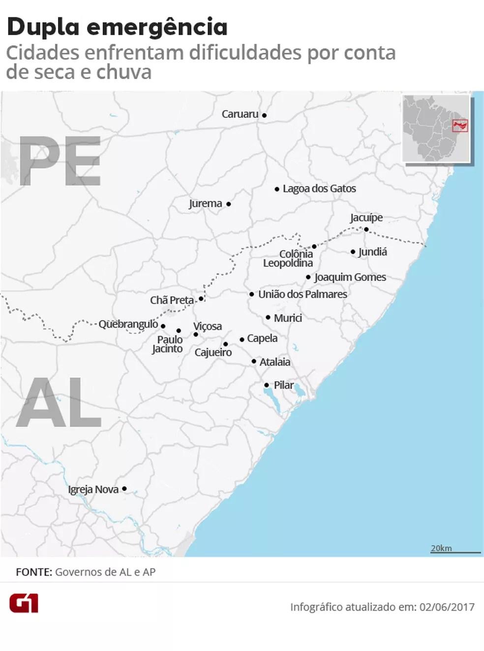 Cidades de Pernambuco e Alagoas que seão em situação de emergência por conta de seca e chuva (Foto: Editoria de Arte/G1)