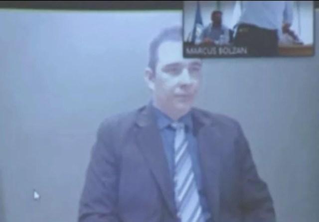 Diogo Canata tomou posse por vídeo chamada realizada da cadeia de Bela Vista do Paraíso — Foto: Reprodução/RPC