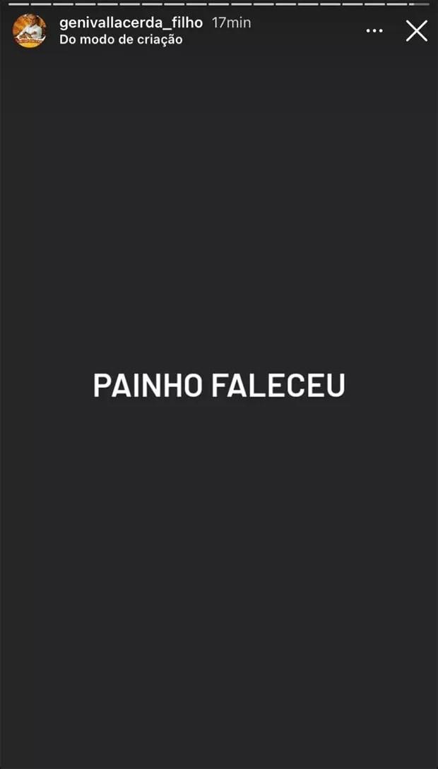 Genival Lacerda Filho informa os seguidores sobre a morte do cantor Genival Lacerda (Foto: Reprodução / Instagram)