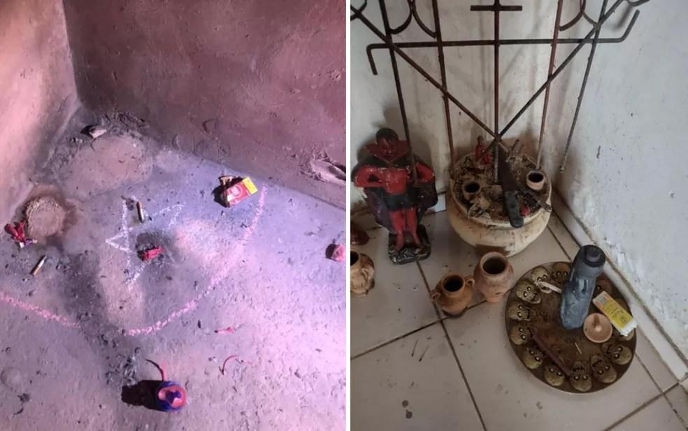 Fotos mostram que casa de Lázaro Barbosa, suspeito de chacina em Ceilândia, tem itens que indicam bruxaria e rituais, diz polícia — Foto: Divulgação/Polícia Civil