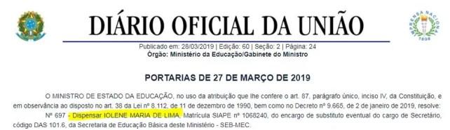 Iolene Lima é dispensada do Ministério da Educação (MEC) — Foto: Reprodução