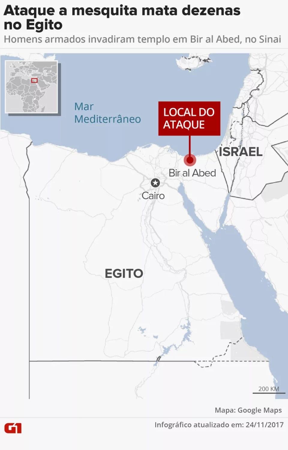 Ataque a mesquita mata dezenas no Egito (Foto: Karina Almeida/G1)
