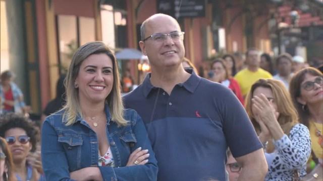 Witzel e a esposa, Helena — Foto: Reprodução/TV Globo