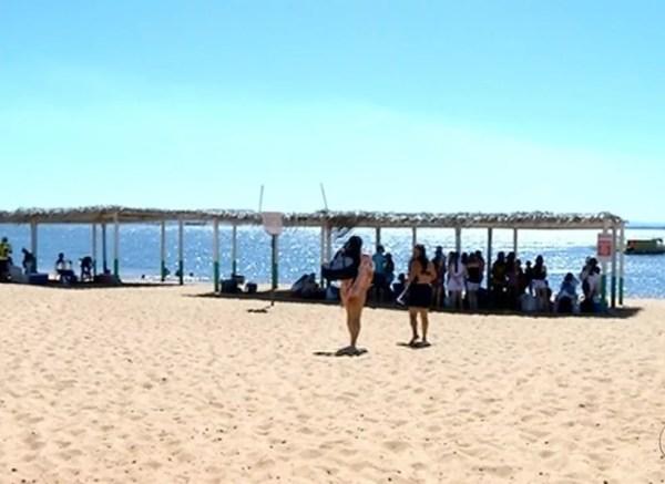 Praia de Babaçulândia é destino na temporada (Foto: Reprodução/TV Anhanguera)