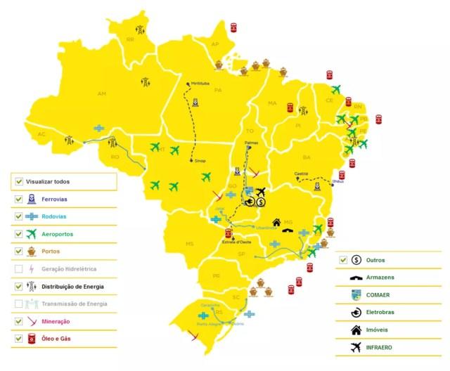 Mapa mostra projetos em andamento do programa de privatizações do governo federal (Foto: Divulgação/Programa de Parceriais de Investimentos (PPI))