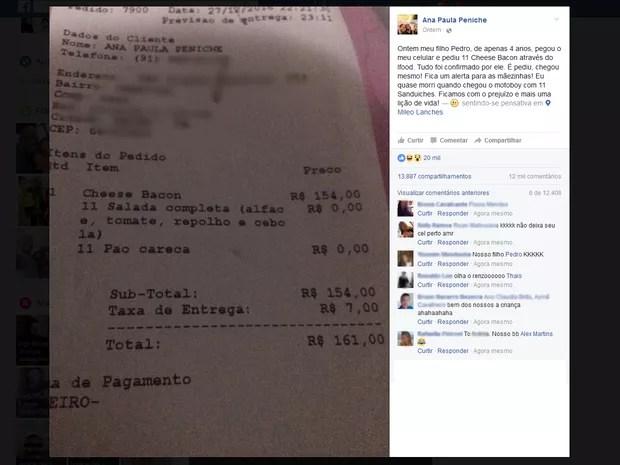 Ana Paula tomou susto ao ver conta dos 11 lanches comprados pelo filho em app de celular  (Foto: Reprodução/ Facebook)