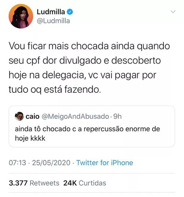 Ludmilla responde internauta que fez publicações sobre suposta traição (Foto: Reprodução/Twitter)