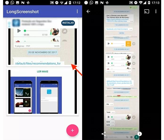 Ação para visualizar o print de tela gerado pelo aplicativo LongScreenshot para Android
