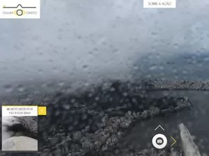 Vista da câmera foi prejudicada nesta sexta pelo chuva na cidade  (Foto: Reprodução / Olhar do Cristo)