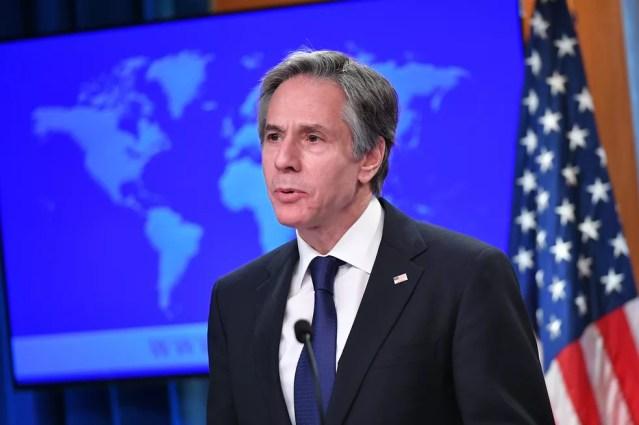 Secretário de Estado dos EUA, Anthony Blinken, participa em 30 de março de evento de divulgação dos relatórios sobre direitos humanos nos países — Foto: Mandel Ngan/Pool via Reuters